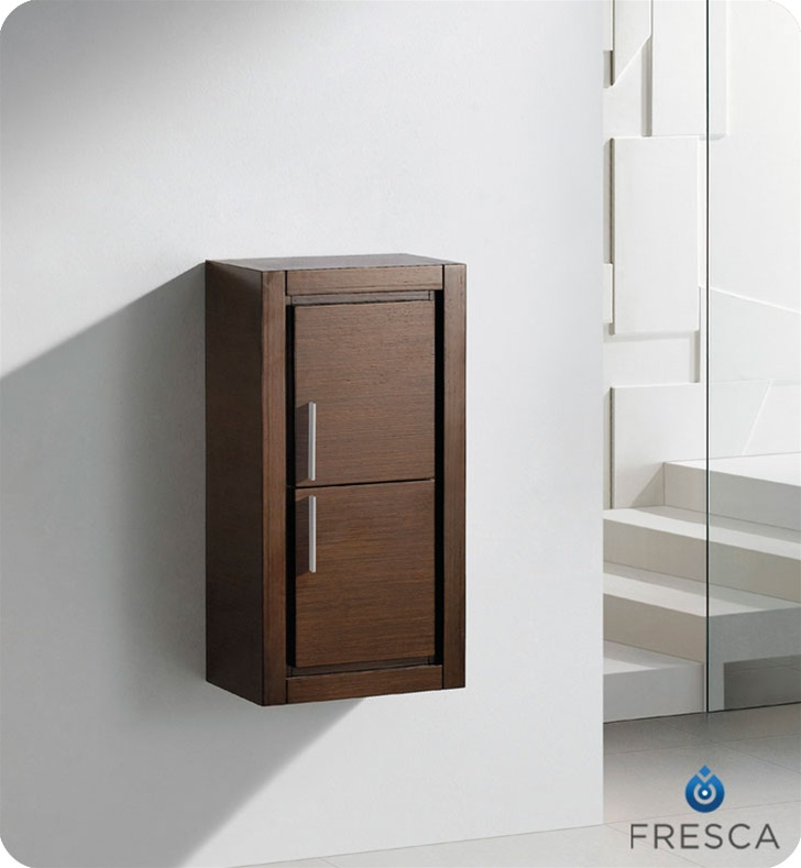fresca fst8140wg wenge brown bathroom linen side cabinet with 2 doors