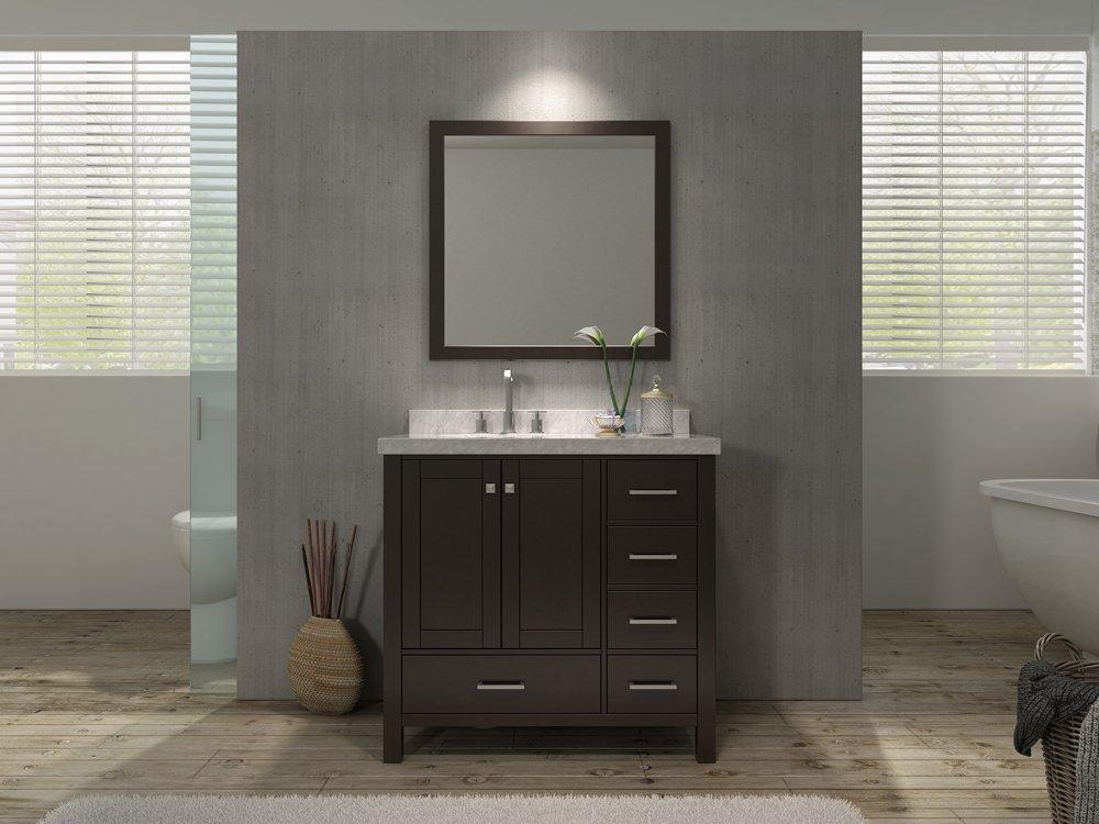 Ariel a037s l cambridge 37 in single bathroom vanity set - Bathroom vanity with right offset sink ...