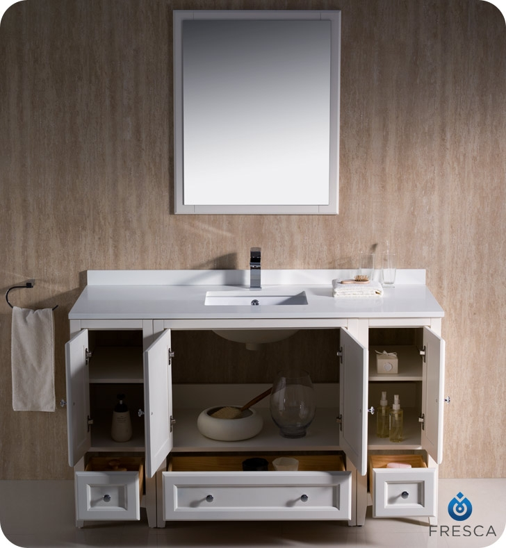 Fresca Fvn20 123012aw Oxford 54 Traditional Bathroom Vanity With 2 Side Cabinets In Antique White Faucets Mosaic Kitchen Supplies Bathroom Supplies And Much More At The Lowerst Rates