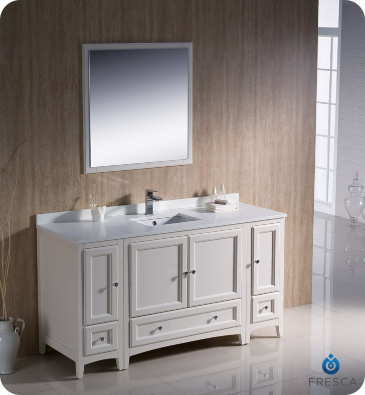 Fresca Fvn20 123612aw Oxford 60 Traditional Bathroom Vanity With 2 Side Cabinets In Antique White Faucets Mosaic Kitchen Supplies