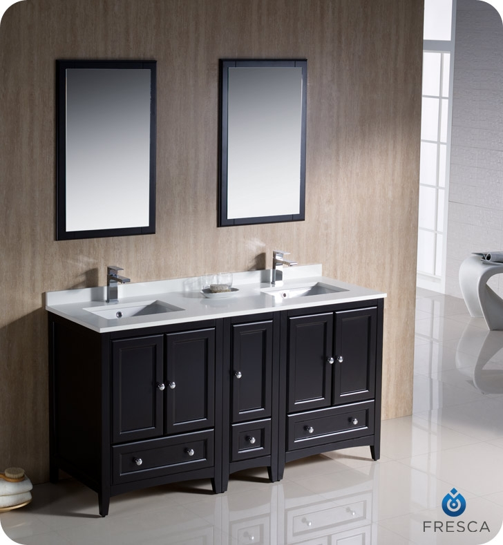 Fresca Fvn20 241224es Oxford 60 Traditional Double Sink Bathroom