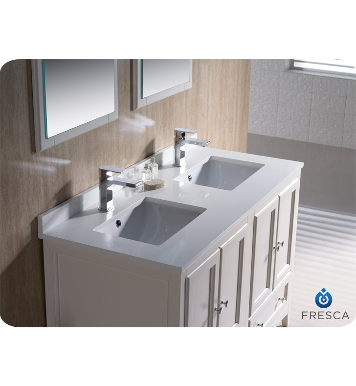 fresca fvn20 2424aw oxford 48 traditional double sink bathroom rh solavanity com bathroom vanity 48 inches double sinks