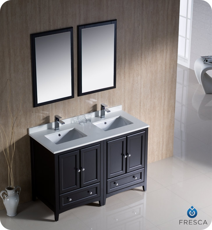 Traditional double sink bathroom vanities Fresca Lightbox Solavanity Fresca Fvn202424es Oxford 48