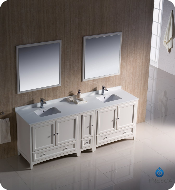 Fresca FVNAW Oxford Traditional Double Sink Bathroom - 84 bathroom vanities and cabinets
