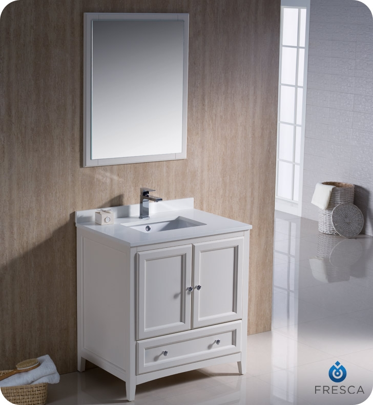 Fresca Fvn2030aw Oxford 30 Traditional Bathroom Vanity In Antique White Faucets Mosaic Kitchen Supplies Bathroom Supplies And Much More At The Lowerst Rates