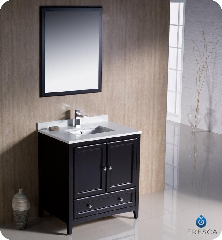 Fresca FVNES Oxford Traditional Bathroom Vanity In Espresso - 24 30 inch bathroom vanities
