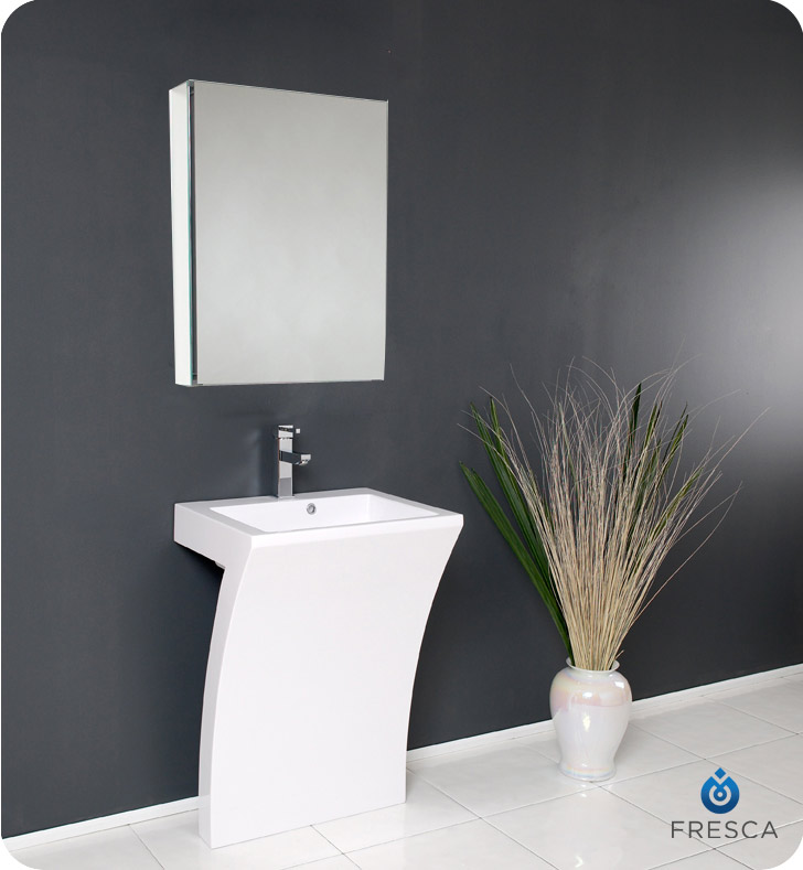 Fresca Fvn5024wh Quadro Pedestal Bathroom Sink With Medicine Cabinet Faucets Mosaic Kitchen Supplies Bathroom Supplies And Much More At The Lowerst Rates