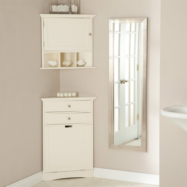 White Tall Corner Bathroom Cabinet
