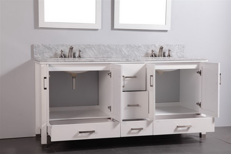 Genial Legion 72 Inch Contemporary Bath Vanity White Finish
